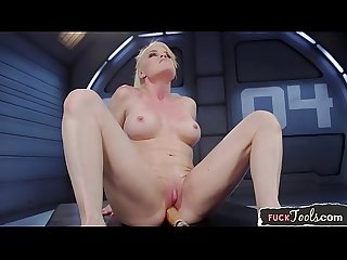 Solo beauty masturbates while machine fucked