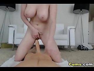 Babe with big boobs rides her toy