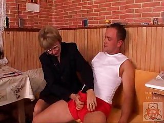 Mature mother and the son s friend have a good time on kitchen xhamster com