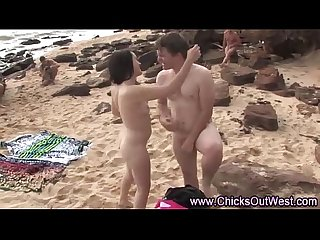 Real amateurs naked outdoor beach play