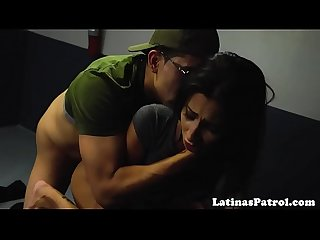 Pretty latina pounded by immigration officer