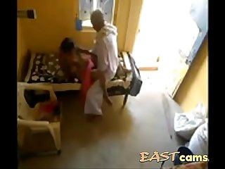 Horny old indian guy banging his maid pussy caught on hidden cam