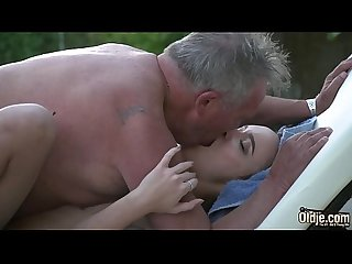 Petite russian teen Nice blowjob and hot fuck by fat old man