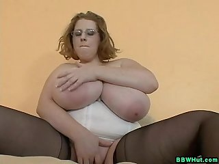Bbw milf plays with massive natural tits and dildos pussy