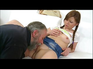Cute juvenile gal fucked by old guy