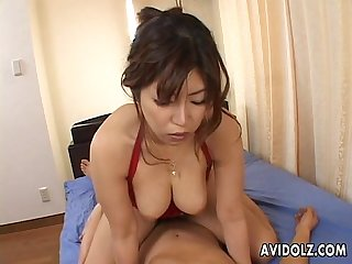 Busty asian skank shines two bulbous erect pussy poking worms
