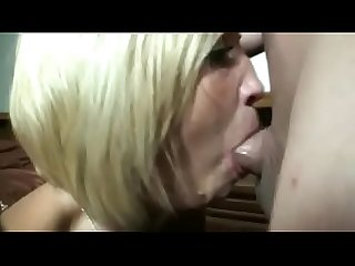 Mature blonde cum mouth