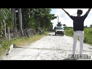 Hitchhiking ends with gay sucking cock and anal bondage
