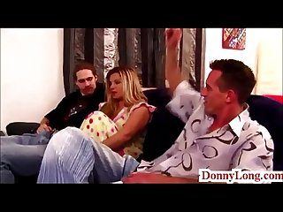 Donny Long tag teams huge tit milf and gives sneaky half creampie