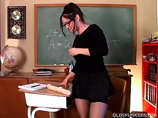 Naughty milf teacher in lingerie fucks her soaking wet pussy