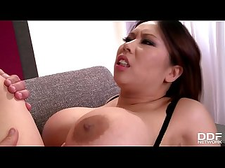Absolutely mind-blowing busty Asian Milf Tigerr Benson fucks two big cocks