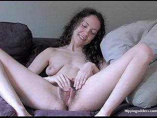 Hairy hippie goddess Wisdom masturbates her furry pussy