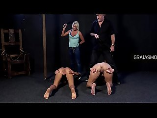 Brutal whipping right on the pussy and anus
