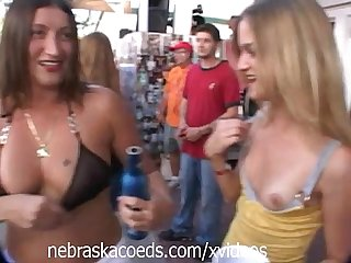 Teen Girl Getting Body Painted in Public