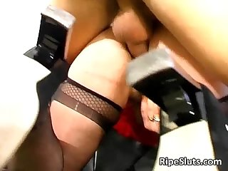 Horny mature redhead slut gets tight