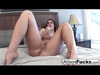 Buxom beauty Alison Tyler plays with her tight and wet pussy