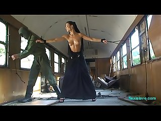 Bdsm model alex zothberg nude oiled captive and whipped in train