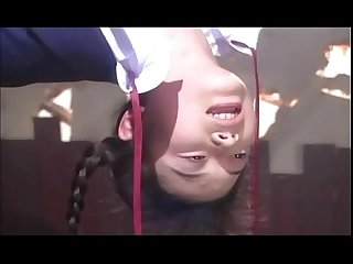 Asian schoolgirl water and rope bondage