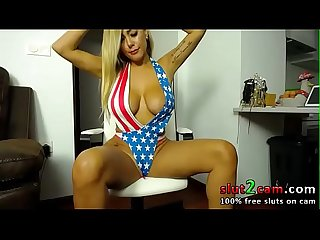 Born In The USA! Blonde Babe US Swimsuit And Heels www.slut2cam.com
