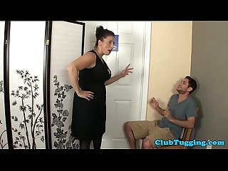 Plump busty mature sucking her stepsons cock