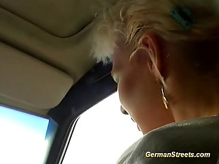 Blonde german is fucked in car washing