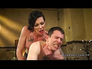 Transsexual stepmom anal fucks her guy