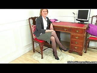 British milf clare strips off her secretary outfit and plays