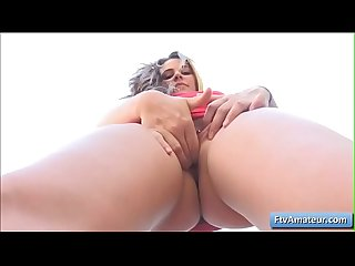 Sexy beautiful amateur Aveline finger her pierced bald pussy and play with her nice boobs in public