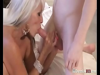 Hot GILF sexy Auntie Blonde Forces A Young Nephew Boy To Fuck Her