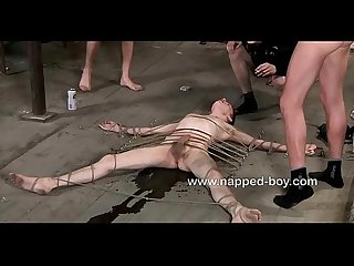 Hot ashton bradley is roped to the floor and used by three guys