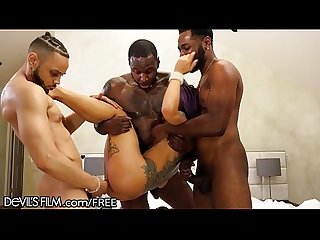Big dick black guys team work gangbang on petite asian babe