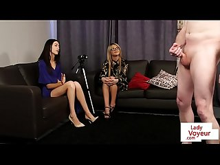 Teen voyeurs stripping while instructing sub