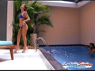 Latina monica fucks massive cock at the swimming pool