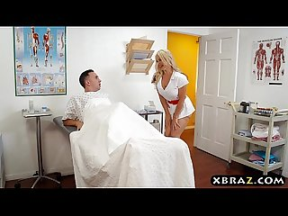 Nurse deepthroats and fucks her patients huge cock