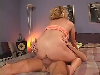Blonde Milf with sweet boobs Kiss gets pussy pounded in bedroom by big dong