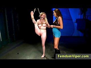 Lezdom slave spanked
