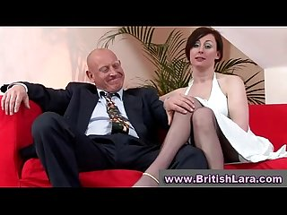 Mature british lady in stockings is licked by businessman