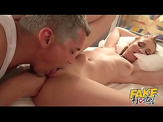 Fake Hostel - Young fiancee with great ass & nice natural tits fucked by older man as boyfriend..