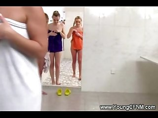 Group of hot teens showering together