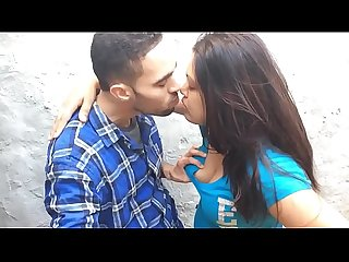Desi couple smooch boob press