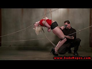 Bdsm blonde bound and punished by her eager master