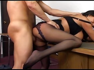 Busty milf has sex in black crotchless nylons