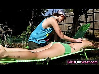 Girls Out West - Hairy dyke licked and fingered outdoors