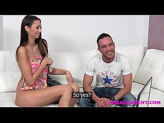 Femaleagent milf gets his wifes pussy wet for him on the casting couch