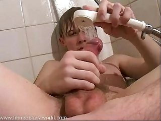 Cute boy does shower jerk cums