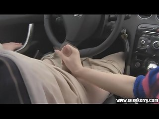 Handjob in car on the supermarket parking place