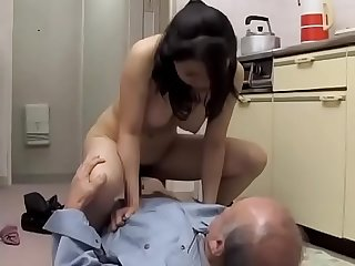 Asian Japanese Milf fucks the old man who blackmailed her with sex photos - ReMilf.com