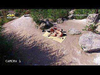 Nude beach sex, voyeurs video taken by a drone