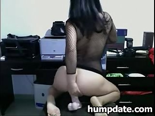 Sexy brunette babe teasing and rides her toy