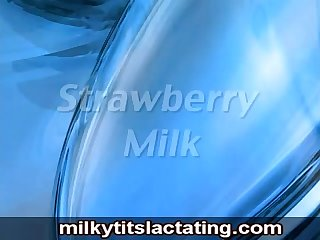 Sexy girl lactating her milky tits